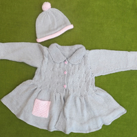 Vintage Style Cardigan, Coat plus Hat in Soft Grey and Pink. For age 2-3 years.