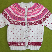 Fairisle Cardigan in Grey with Pinks and Wine, for age 2-3 years