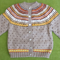 Fairisle Cardigan in Warm Browns and Gold. For ages 4-5 years.