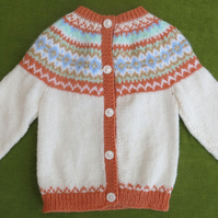 Fairisle Cardigan in Natural White and Multi. For ages 3-4 years.