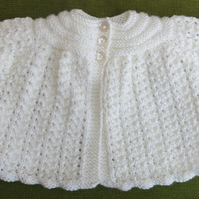 Sweet, Sparkly Cream Matinee Coat for baby 0-3 months