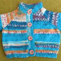 Tiny Wool Cardigan in Random Turquoise, Gold. Perfect for your Newborn.