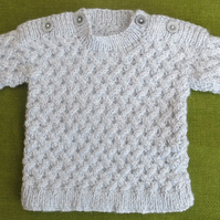 Tweedy Jumper in Blue & Grey with Lovely Lattice Pattern, for age 9-12 months