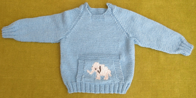 Gorgeous Blue Jumper with Front Pocket and Elephant Motif. Cute! 18-24 months.