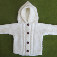 Cute and Cosy Cream Cardigan with Hood. For 12-18 months.