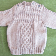 Adorable Jumper in Honey Beige with Cables and Ribs. For 12-18 months.