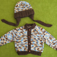 Cute & Chunky Cardigan in Blue, Brown & Fawn Random with Hat. 6-12 months