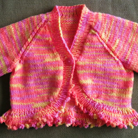 Lovely Bright Orange and Yellow Cardigan, Bolero, Shrug. For 9-12 months.