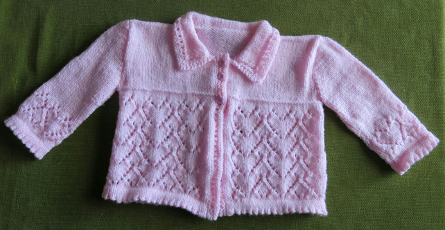 Pretty Pink Vintage Style Shimmery Cardigan-Jacket with Hearts. For 2-3 years.