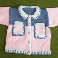 Extremely Pretty Pink and Denim Blue Cardigan for age 2-3 years.