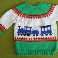"Wonderful and Cute ""Steam Train"" Jumper. For 4 years old."