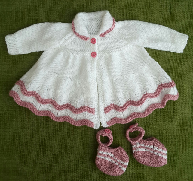 Adorable Vintage Style Matinee Coat & Bootees. White and Rose Pink.  3-6 months.