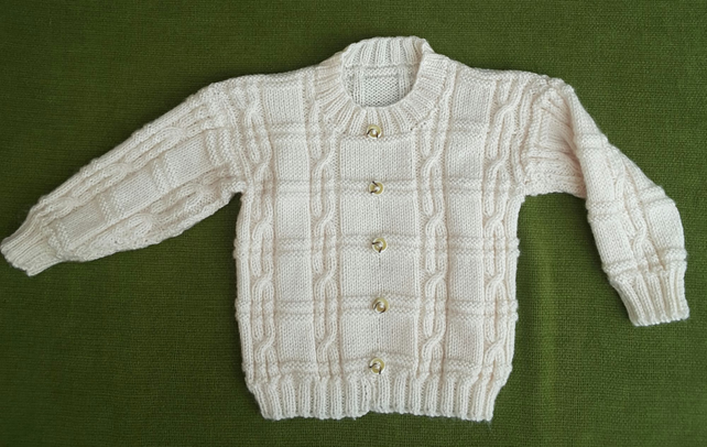 Stylish Cable Design Knit Jumper in Cream. For 3 years.