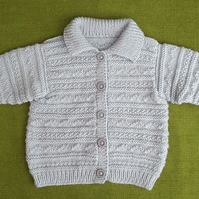 Guernsey Style Cardigan-Jacket in a Lovely Soft Grey for age 2-3 years.