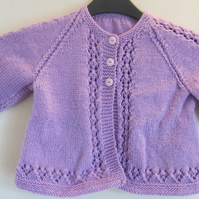 Gorgeous Heather Pink Cardigan with Lace Pattern Details. For age 3-4 years.