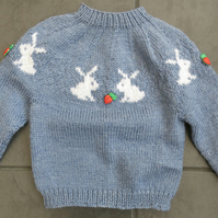 Cute Grey Jumper with Rabbit Motifs. For 12-24 months.