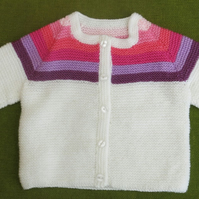 Sweet Little Cardigan in White and Pinks. For age 3-4 years.