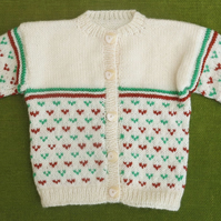 Perfect for Autumn Cardigan in Cream, Green & Chestnut Details. For 2-3 years.