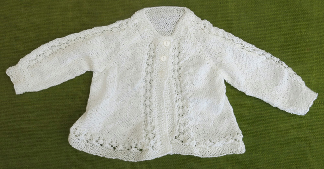 Dainty, Vintage Style Matinee Coat with Pretty Heart Buttons for baby 0-3 months