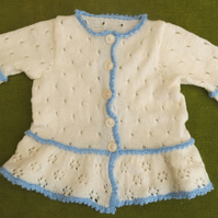 Vintage Style Cream Cardigan with Peplum & Delicate Blue Edging. For age 1-2