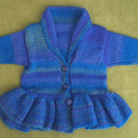 Cosy Wool mix Cardigan with Peplum and Shawl Collar. For 18-24 months.