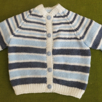 Cute Navy, Blue and WhiteStriped Cardigan. For 18-24 months.