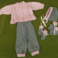 Pink and Grey Pram Set. Cardi, Leggings, Hat, Mittens & Bootees. 3-9 months