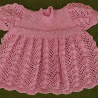 Sweet and Dainty, Vintage Style 4ply Pink Dress. 0-6 months.