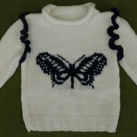 Striking and Sparkly! Beautiful Butterfly Jumper in White & Blue. 3-4 years.