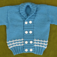 Smart and Stylish Double-breasted Jacket Cardigan in Blue. 6-12 months.