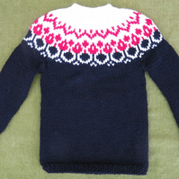 Striking Wool Blend Nordic Style Jumper in Black, Red and White. 2-3 years.