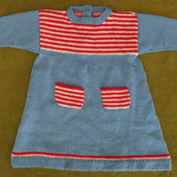 Adorable Retro Flared Style Knitted Dress in Blue, Red and White. For 3-4 years.