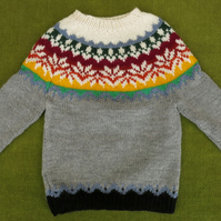 Striking Nordic Style Jumper in Grey, with Colourful Yoke. 2-3 years.