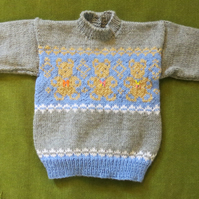 Adorable Blue & Grey Jumper with Cute Teddies. For 18 months.