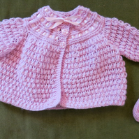 Dainty, Creamy Pink Matinee Coat for baby 3-6 months