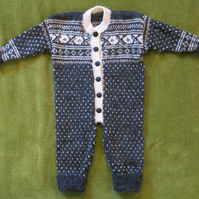 Soft, Pure Alpaca Wool, Nordic Onesie in Natural White & Charlcoal.  3-6 months.