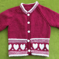 Pretty Cranberry and Cream Cardigan with hearts. For age 3-4 years