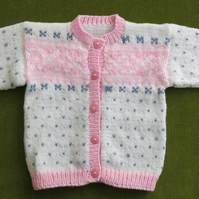 Striking Nordic Cardigan in White, Pink and Blue. For 2-3 years.