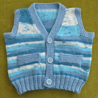 Cute Little Waistcoat in Random Shades of Blue. For 12-18 months.