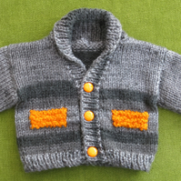 Cute, Chunky Jacket-Cardigan in Greys, with Orange Detailing. 3-6 months.