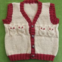 Adorable Little 'Owl' Waistcoat in Fudge Brown and Russet. For 18-24 months.