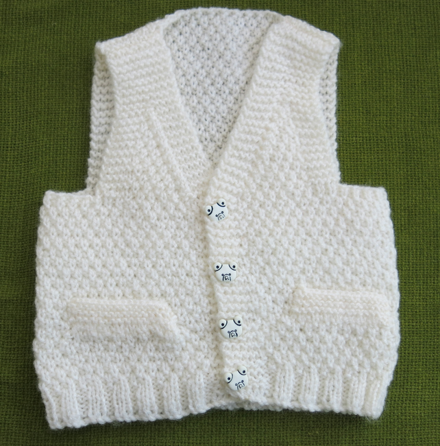 Adorable Little Waistcoat in Cream with Cute Teddy Buttons. For 6-12 months.