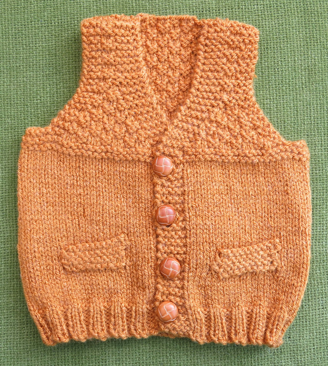 Adorable Little Waistcoat in a Golden Mustard Orange. For 6-12 months.