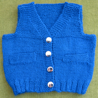 Stunning Royal Blue Waistcoat with Silver Buttons.. For 6-12 months.