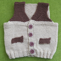Adorable Little Waistcoat in Shades of Brown. For 6-12 months.