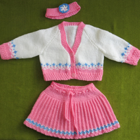 Pretty Pink & White Cardigan, Skirt and Headband Set for 3-6 months