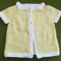 Pretty Short-Sleeved Cardigan Cover-up in Creamy Yellow for age 2-3 years.