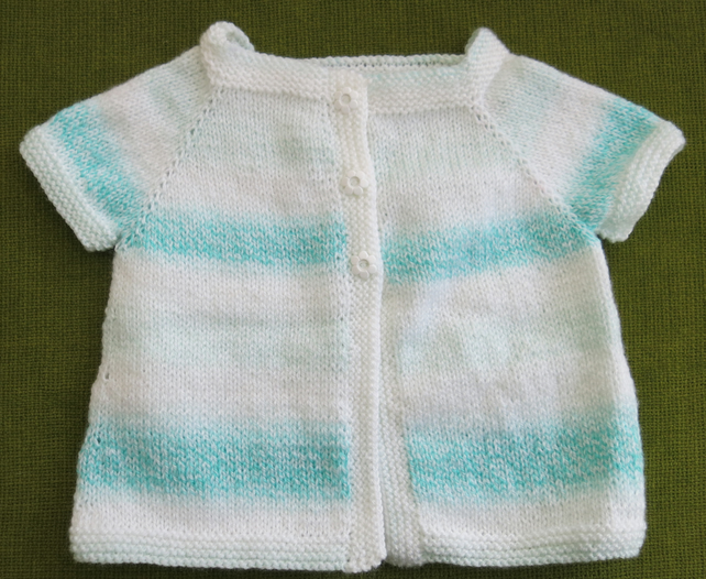 Pretty Short-Sleeved Cardigan Cover-up in White & Turquoise. Age 18-24 months.