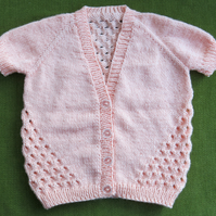 Sweet Apricot Coloured Cardigan with Pretty Stitch Details. For age 3 years.