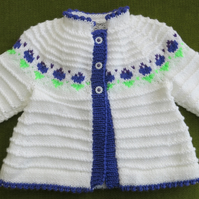 Fresh White Jacket with Purple and Green Flowers. For 12-18 months.